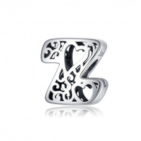Sterling silver alphabet charm with hearts letter Z