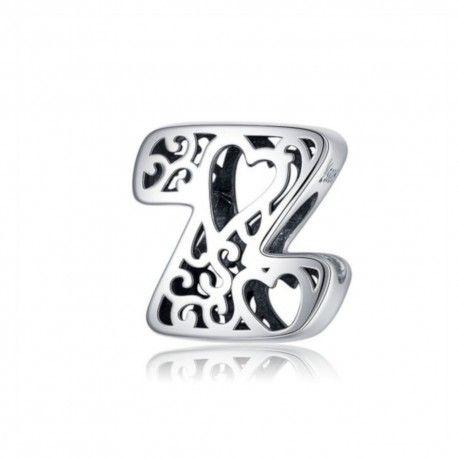 Zilveren alfabet bedel letter Z met hartjes