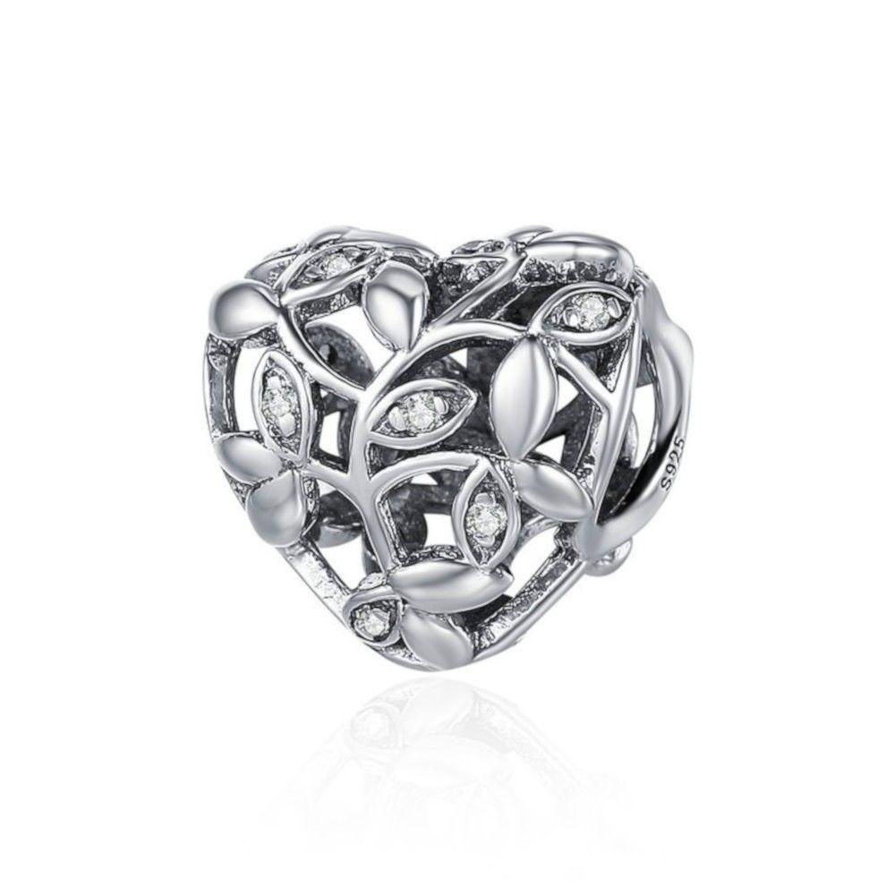 Zilveren bedel Boom van bladeren hartvormig