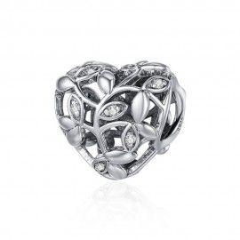 Charm en plata de Ley Árbol de hojas en forma de corazon