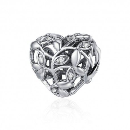 Sterling silver charm Tree of leaves heart shaped