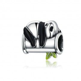 Charm en plata de Ley Panda con bambú