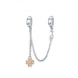 Sterling silver safety chain Four leaf clover