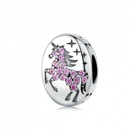 Sterling silver charm Oval shaped with unicorn