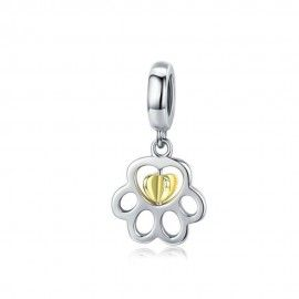 Sterling silver pendant charm Dog paw with gold plated detail