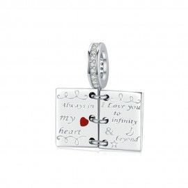 Charm pendente in argento Libro d'amore