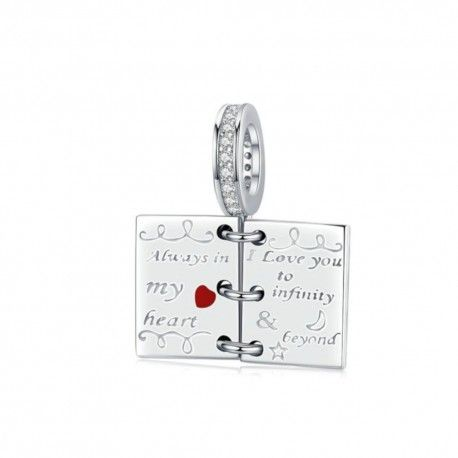 Sterling silver pendant charm Book of love