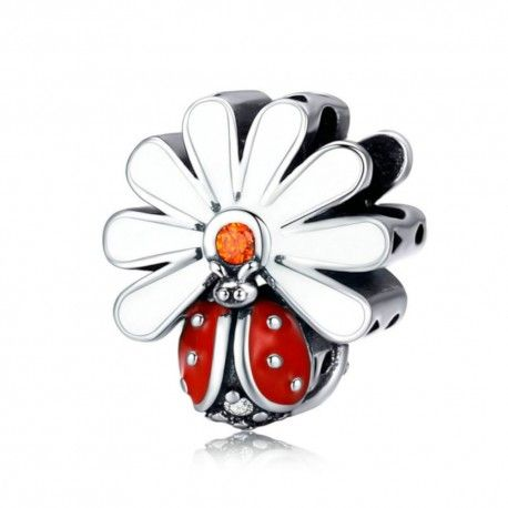 Sterling silver charm Ladybug with daisy