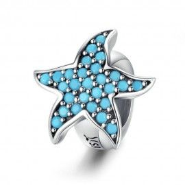 Distanziatore in argento Stella Marina Blu