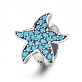 Espaceur en Argent Étoile de mer bleue