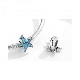 Sterling silver stopper Blue starfish