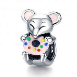 Sterling silver charm Greedy mouse