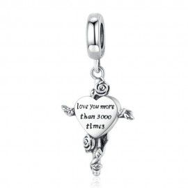 Sterling silver pendant charm Love you more than 3000 times