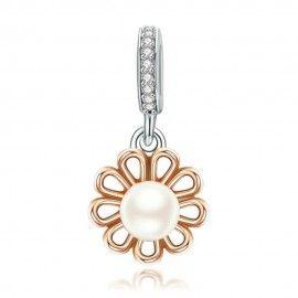 Charm pendentif en argent Plaqué or rose avec perle