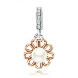 Sterling silver pendant charm Rose gold plated with pearl