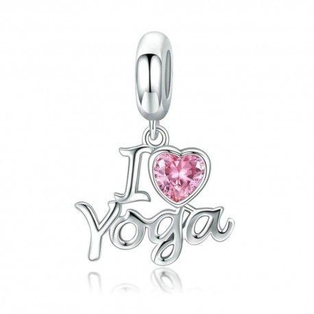 Sterling silver pendant charm I love yoga