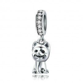 Sterling silver pendant charm Pomeranian dog