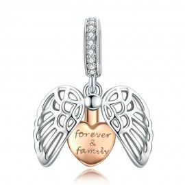 Sterling silver pendant charm Guardian wings