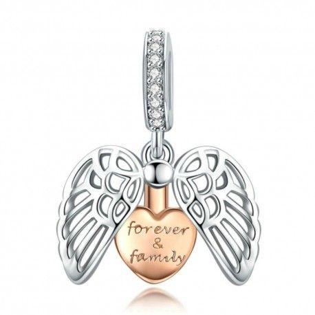 Zilveren hangende bedel Beschermende vleugels