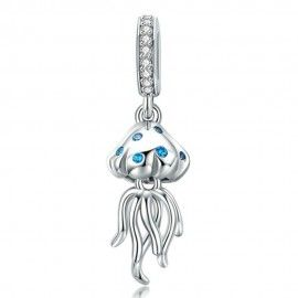 Sterling silver pendant charm Jellyfish