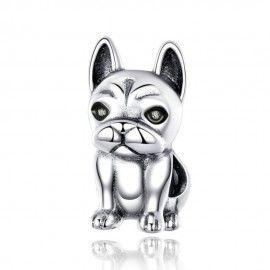 Zilveren bedel Leuke Franse bulldog
