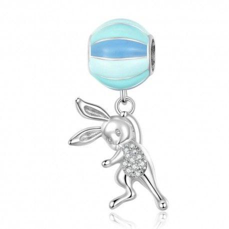 Zilveren hangende bedel Vliegend konijn