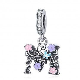 Zilveren hangende bedel letter M met bloemen