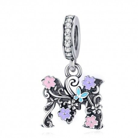 Sterling silver pendant charm letter M with flowers