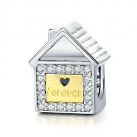 Sterling silver charm Forever family house