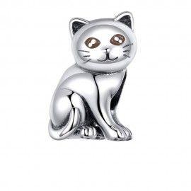 Zilveren bedel Kitten