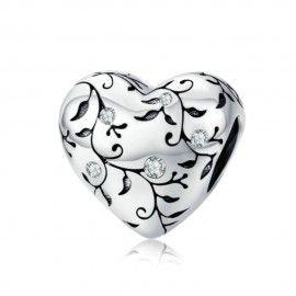 Sterling Silber Charm Herz mit Retro-Muster