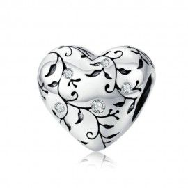 Sterling silver charm Heart with retro pattern