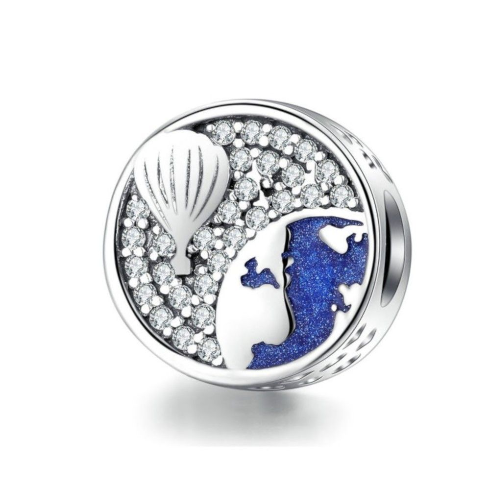 Sterling silver charm Air balloon blue