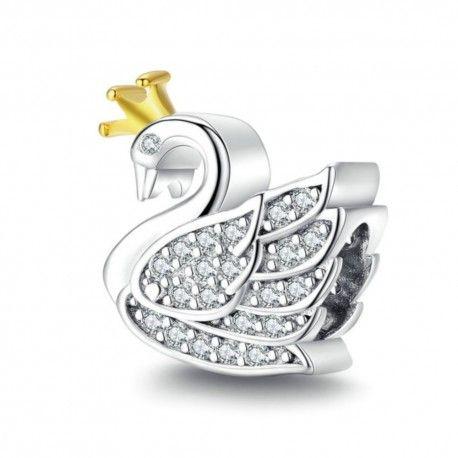 Sterling silver charm Princess swan