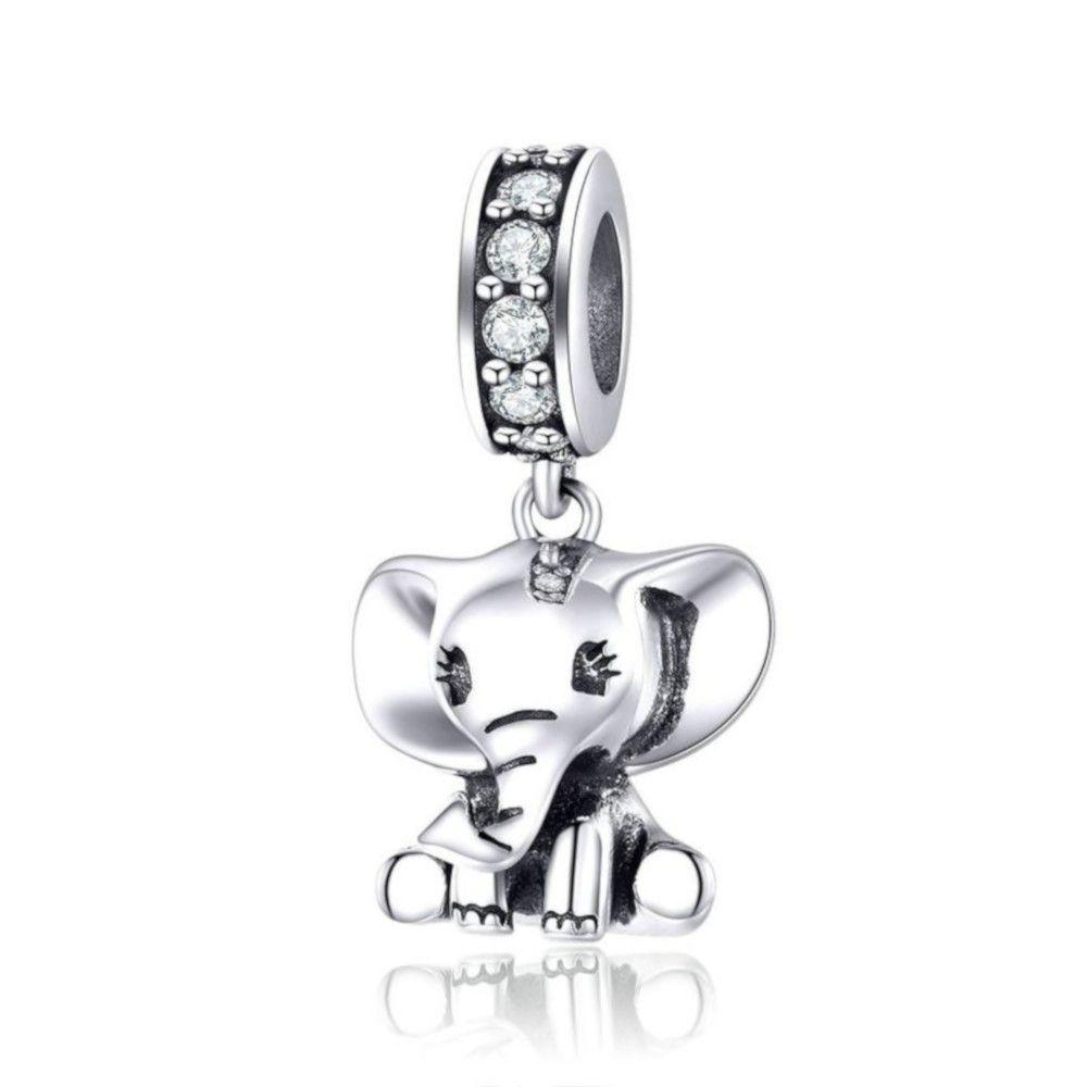Zilveren hangende bedel Kleine olifant