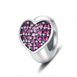 Sterling silver stopper Purple heart