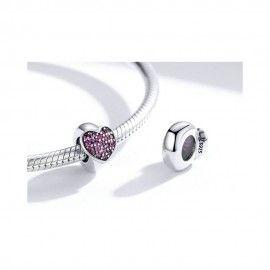 Zilveren stopper Paars hart