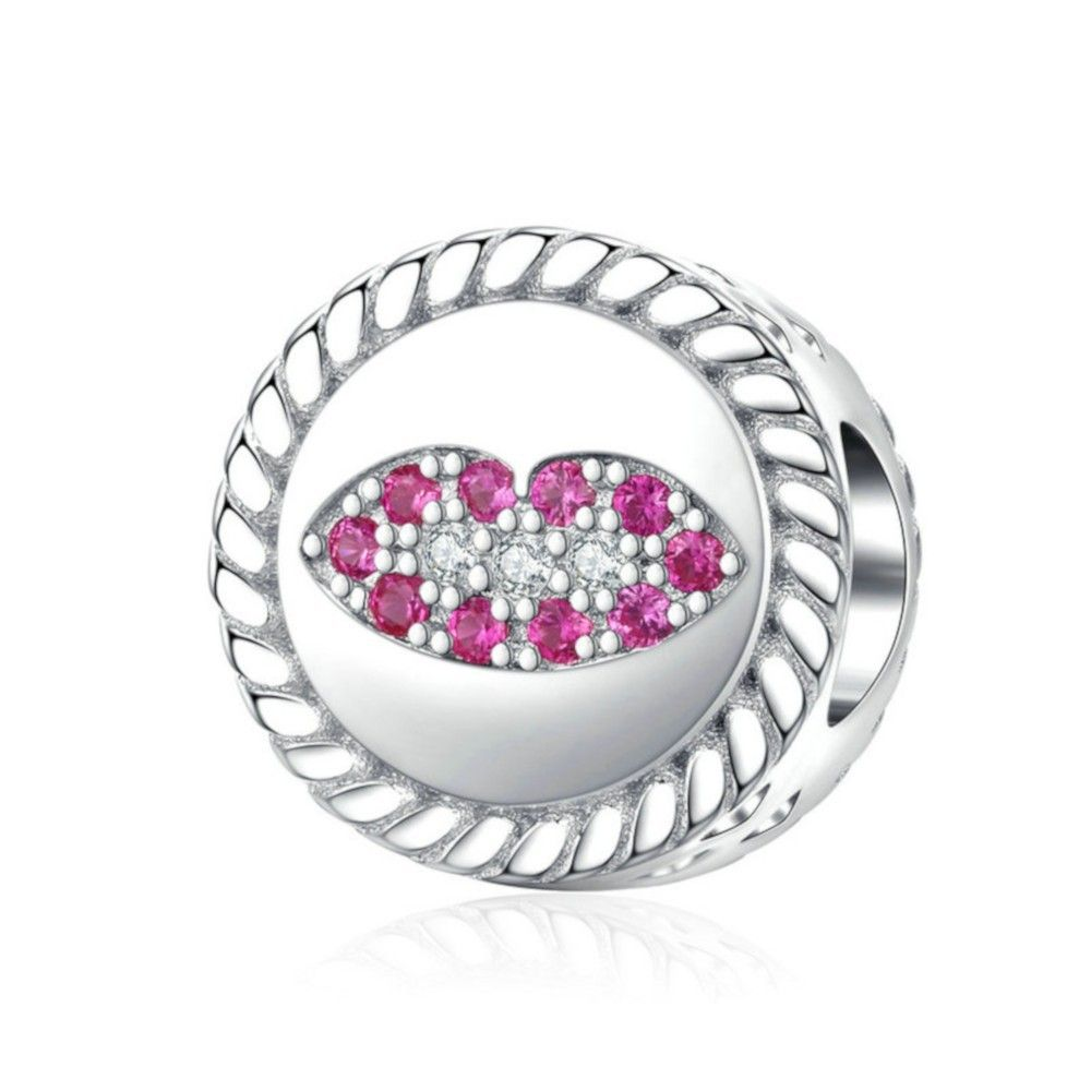 Sterling silver charm Kiss