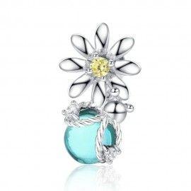 Sterling Silber Charm-Anhänger Glühwürmchen und Gänseblümchen