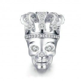 Zilveren bedel Schedel met kroon