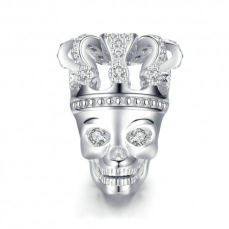 Sterling silver charm Skull with crown