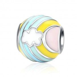 Sterling silver charm Rainbow and cloud