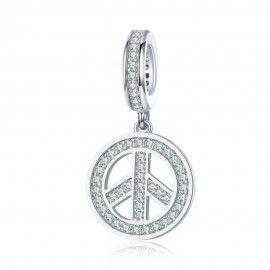 Charm colgante en plata de Ley Paz y amor