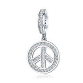 Sterling silver pendant charm Peace and love