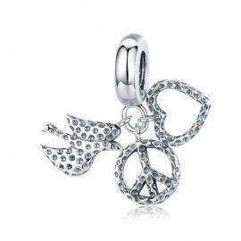 Sterling silver pendant charm Anti-war