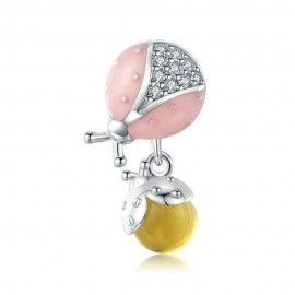 Charm pendente in argento Coccinella con frutta