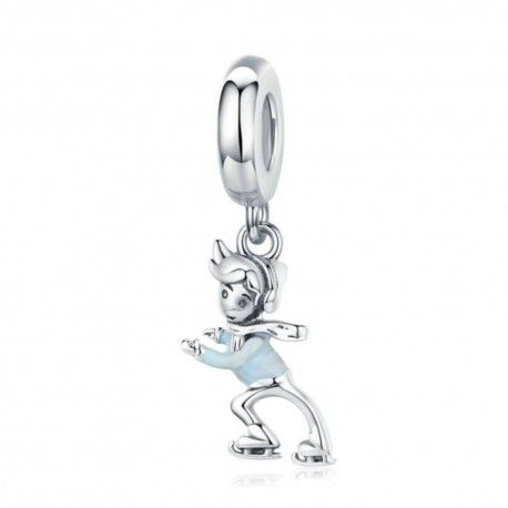 Sterling silver pendant charm Skating boy