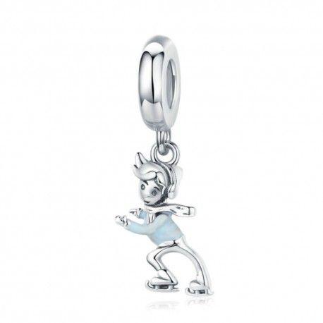 Sterling silver pendant charm Skating boy