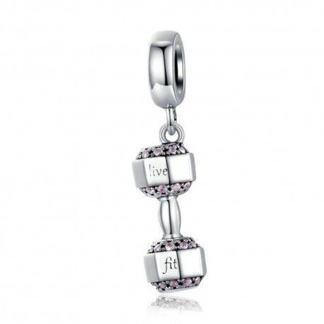 Sterling silver pendant charm Dumbbell