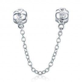 Catena di sicurezza Charm in argento con Cuori romantici